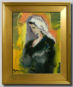 JOSE TRUJILLO - FRAMED OIL PAINTING CANVAS 11X14 IMPRESSIONISM ICON VIRGIN MARY