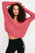 Urban Outfitters Tassa Pink V Neck Textured Pullover Sweater XS UK 6-10  NEW