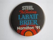 LABATT BEER CURLING HAMILTON BRIER 1991 STEEL THE FEELING BUTTON PIN BACK CANADA