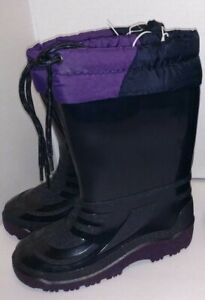 Toddler 8 Purple Black Snow Boots Rain Boots Rubber Soled Insulated Slip Ons