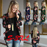 Women's Long Sleeve Floral Cardigan Coat Tops Casual Open Front Jacket Blouse US