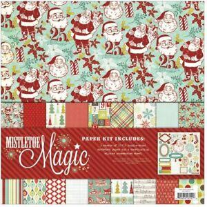 "My Mind's Eye Mistletoe Magic Paper & Accessories Kit 12""X12"" Christmas"