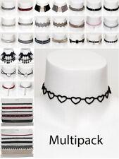Womens Choker Multi Pack Black Velvet Crystal Necklace Fashion Jewellery New