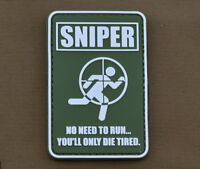 """PVC / Rubber Patch """"Sniper.....no need to run"""" with VELCRO® brand hook"""