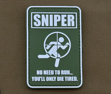 "PVC / Rubber Patch ""Sniper.....no need to run"" with VELCRO® brand hook"