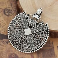 2Pcs Antique Silver Alloy Hollow Pendants Charms Crafts Jewelry Findings Making