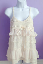 Forever21 BabyDoll Tiered Ruffle Lace Crochet Chiffon Blouse Sheer Cami Tank Top