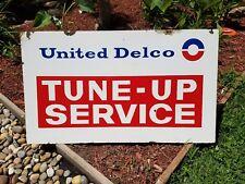 Vintage Original United Delco Tune Up Service Porcelain Enamel Sign