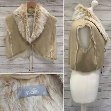 Wallis Blonde Beige Faux Fur Suede Gilet Body Warmer Cropped Shrug Bolero M UK