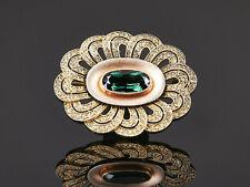 große Theodor Fahrner - ovale Brosche grüner Farbstein Art Deco Silber vergoldet