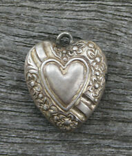 VINTAGE STERLING PUFFY HEART CHARM - Repousse Floral Border & Heart in Middle