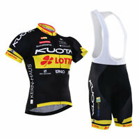 KJU228 Mens Team Cycling Sport wear Short Sleeve Jersey Padded Bib Shorts Se