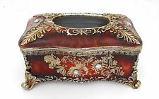Home / office/ resin tissue box holder / Brown & gold with rhinestone # 1793