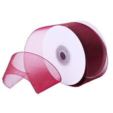 "1/4"" Plain Sheer Organza Nylon Ribbon 25 Yards - Wine"