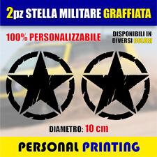 2 Adesivi Stella Militare 10 x 10 cm US ARMY fuoristrada 4X4 Jeep renegade RALLY