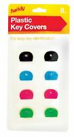 8 x KEY COVERS CAPS TOPS TAGS ASSORTED COLOURED ID MARKER IDENTIFICATION PLASTIC