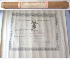 DIPLOME ORDRE NATIONAL DE LA LEGION D'HONNEUR 1935