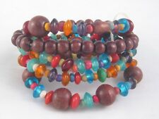 Beautiful New 5 Piece Bracelet Set With Wood & Colorful Glass Beads #B1318