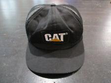 VINTAGE Cat Snap Back Hat Cap Black Yellow Trucker Mesh Caterpilar Tractor 90s