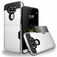 For LG G5 G6 V10 V20 V30 Hybrid Rubber Shockproof ID Card Wallet Hard Case Cover