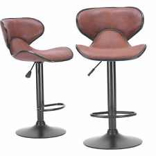 Levede 2x Bar Stools Kitchen Chairs Swivel PU Leather Industrial Furniture Brown
