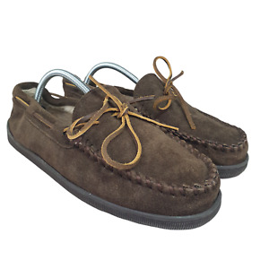 Minnetonka Moccasins Mens 10 Slippers Brown Leather Faux Fur Lined Warm 3908W