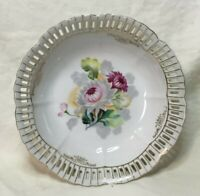 """* Ucagco MADE IN OCCUPIED JAPAN 7"""" Reticulated Porcelain Scalloped Bowl"""