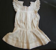 Dress Christening Doll Organdy Embroidery Lace in Tapered Hand Made 1900`