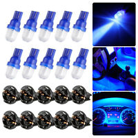 10x Blue T10 194 LED Bulbs for Instrument Gauge Cluster Dash Light W/ Sockets