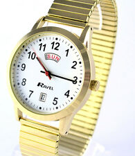 Ravel Mens Big Number Day Date Expander Watch, Gold Tone, Easy Read Time