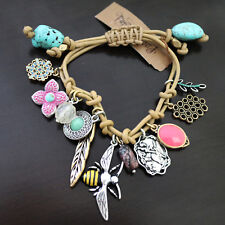 NWT LUCKY BRAND Multi Bee flower bird Feather Charms Leather Bracelet NEW