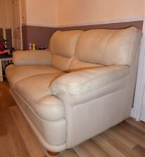 Free to good home Leather Cream 2 seater sofa settee &matching reclining chair