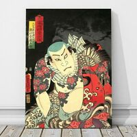 "Japanese Kabuki Art from 1800's  CANVAS PRINT 16x12"" Actor ~ Kunichika #175"