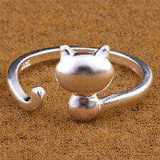 Silver Plated Opening Adjustable Ring Lovely Cat Ring Women Statement Jewelry OH