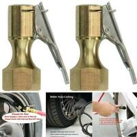 Brass Opened Type Flow Straight Lock-On Air Chuck with Clip for Tire Inflator //