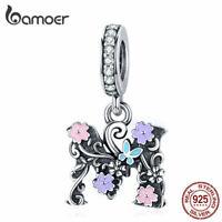 BAMOER European S925 Sterling silver Charm Letter M Pendant Fit Bracelet Women