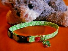 New listing Cat Collar Handmade - Lucky Ladybugs With Charm on Green Leaves Fabric . Meow