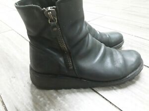 Womens Fly London Mon Wedge Heel Zip-Up Chelsea Leather Ankle Boots Size uk 6