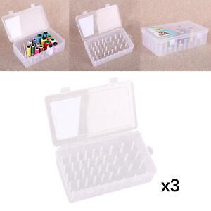 3pcs Large Empty Sewing Thread Storage Box Organizer Case Dustproof Holder