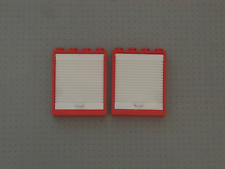 Lego - 2 Red and White Windows with Lift Door - 1x4x4 Studs - (6154 6155) GMT206
