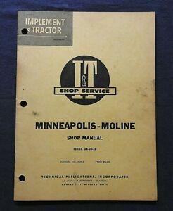 1955 MINNEAPOLIS MOLINE GB UB ZB TRACTOR I & T SHOP SERVICE REPAIR MANUAL CLEAN