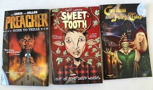 X3 Various GRAPHIC NOVELS (Grimm Fairy Tales, Preacher, Sweet Tooth) - G23
