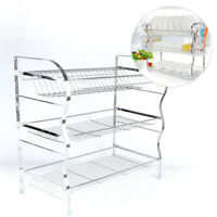 STAINLESS STEEL 3 TIER DISH DRAINER KITCHEN STORAGE DRIP TRAY CHROME PLATES NEW
