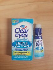 2 Pack Clear Eyes Triple Action Lubricant Eye Drops 0.5 Fl Oz, Exp. 02/2021+