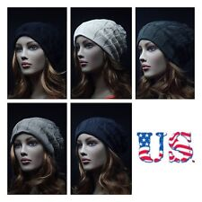 Knit Mens Womens Pattern/Plain Reversible Vintage Beanie  Unisex Hat Slouchy