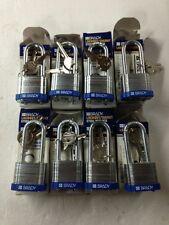 """LOT OF 8 Brady LOTO locks, Blue LOTO, Brady 99528, 2"""" Shackle Padlock, Steel"""