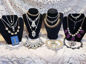 22 Piece Vintage and Modern Rhinestone Necklace Lot - Avon, Coro