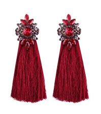 Long RED tassel statement earrings with rhinestone detail NEW