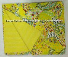 Indian Handmade ParrotGreen Paisley Print Kantha Quilt Throw Bedspread Comforter