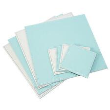 Reversible Flip 4 Placemats & 4 Coasters Light Grey Blue Square Faux Leather Set